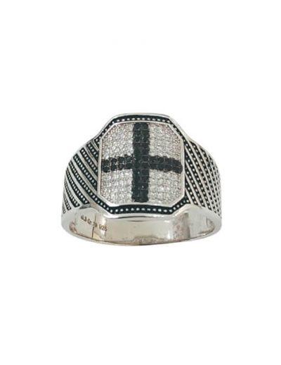 Χειροποίητο Ασημένιο Ανδρικό Δαχτυλίδι με Ζιργκόν