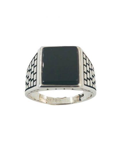 Ασημένιο Ανδρικό Δαχτυλίδι με τετράγωνη πέτρα Όνυχα