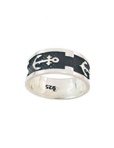 Ασημένιο Ανδρικό Δαχτυλίδι με σχέδιο Άγκυρα