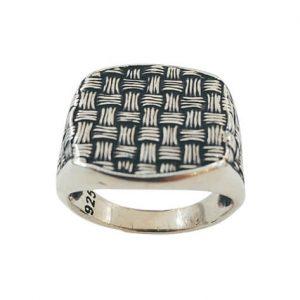 Χειροποίητο Ασημένιο Ανδρικό Δαχτυλίδι με σχέδιο μικρά τετράγωνα