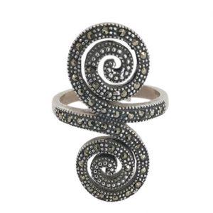 Ασημένιο Δαχτυλίδι Διπλή Σπείρα με Μαρκασίτες