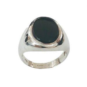 Ασημένιο Ανδρικό Δαχτυλίδι Σεβαλιέ με μαύρο Όνυχα
