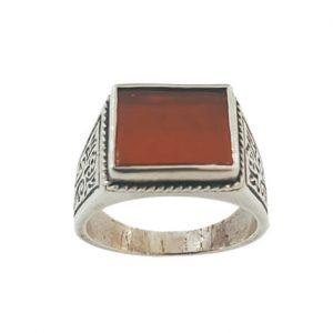 Ασημένιο Ανδρικό Δαχτυλίδι με τετράγωνη πέτρα Κορνεόλη