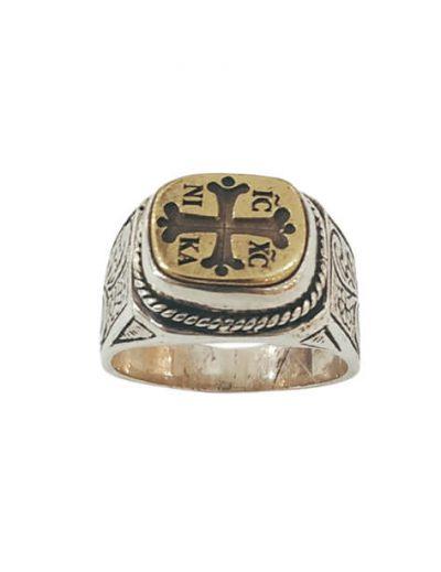 Χειροποίητο Ασημένιο Ανδρικό Δαχτυλίδι με σύμβολο IC XC NIKA