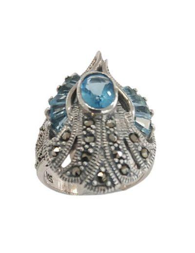 Ασημένιο Δαχτυλίδι με Μαρκασίτες και Ακουαμαρίνα