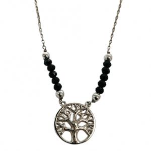 Ασημένιο Κολιέ Δέντρο της Ζωής με Μαύρες Πέτρες