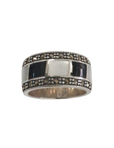 Ασημένιο Δαχτυλίδι Βέρα με Μαρκασίτες, Όνυχα & Φίλντισι