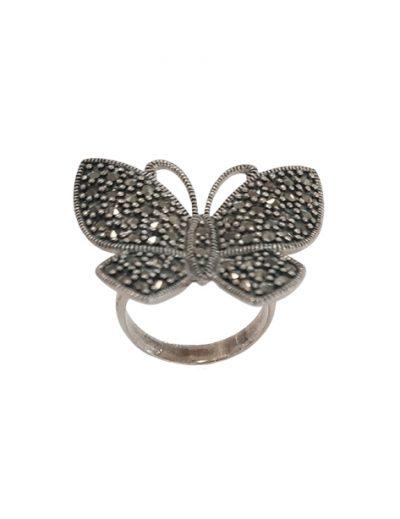 Ασημένιο Δαχτυλίδι Πεταλούδα με Μαρκασίτες