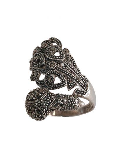 Ασημένιο Δαχτυλίδι Παγώνι με Μαρκασίτες