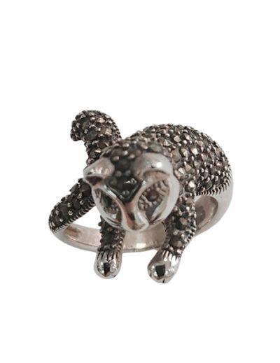Ασημένιο Δαχτυλίδι Γάτα με Μαρκασίτες