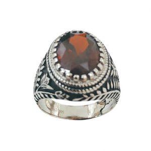 Ασημένιο Ανδρικό Δαχτυλίδι με πέτρα Ζιργκόν