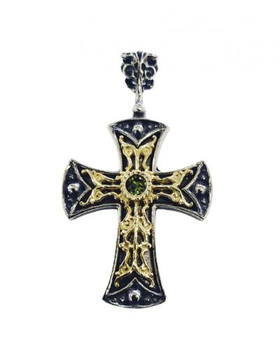Χειροποίητος Ασημένιος Βυζαντινός Σταυρός με Επίχρυσα Μέρη και Περίδοτο