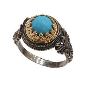 Χειροποίητο Ασημένιο Δαχτυλίδι Αρχαϊκού Τύπου με Επίχρυσα Μέρη και Τυρκουάζ