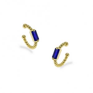 Ασημένια Επίχρυσα Σκουλαρίκια Κρίκος (Ear Cuff) με Μπλε Ζιργκόν