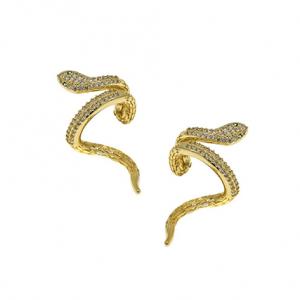 Ασημένια Επίχρυσα Σκουλαρίκια Κρίκοι (Ear Cuffs) σε Σχήμα Φίδι με Λευκά Ζιργκόν