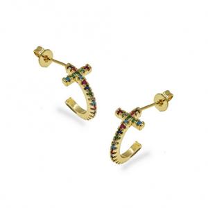 Ασημένια Επίχρυσα Σκουλαρίκια Κρίκοι (Ear Cuffs) σε Σχήμα Σταυρός με Πολύχρωμα Ζιργκόν