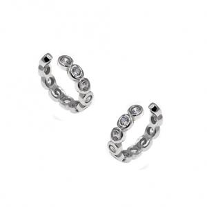 Ασημένια Επιροδιωμένα Σκουλαρίκια Κρίκοι (Ear Cuffs) με Λευκά Ζιργκόν
